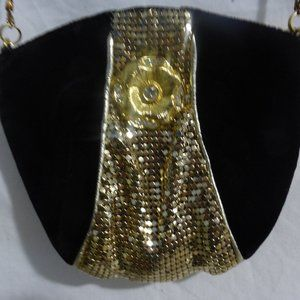 Coin / Change Purse, black with gold design, chain